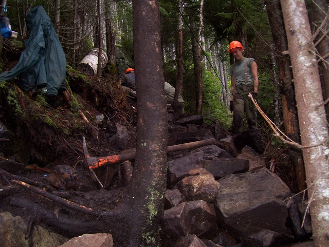 Maine Conservation Corps (MCC) working on Gulf Hagas Mountain